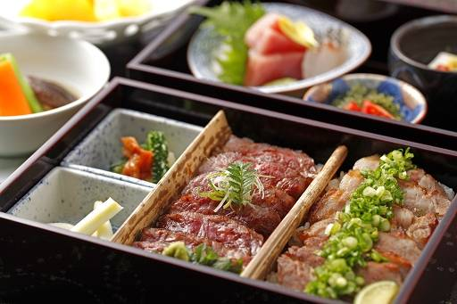 Enjoy a delicious combination of Wagyu Beef and Agu Pork at an affordable price